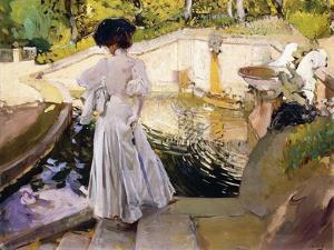 Maria looking at the Fishes, Granja (Maria mirando a los Peces, Granja). 1907 by Joaquin Sorolla