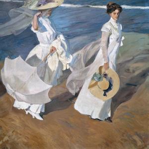 Strolling along the Seashore. 1909 by Joaquin Sorolla