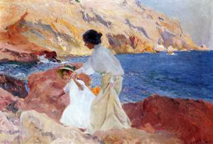 Clotilde and Elena on the Rocks, Javea by Joaquín Sorolla y Bastida