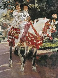 Portraits of Elena and Maria Wearing Old Valencian Dresses by Joaquín Sorolla y Bastida