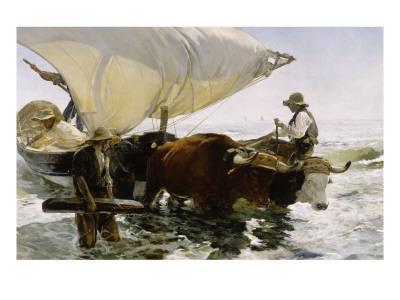Retour de pêche, halage de la barque