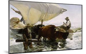 Retour de pêche, halage de la barque by Joaquín Sorolla y Bastida