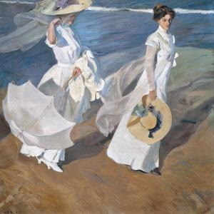 Strolling Along the Seashore by Joaquín Sorolla y Bastida