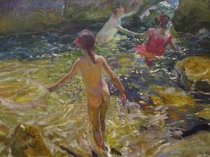 The Bath, Javea by Joaquín Sorolla y Bastida