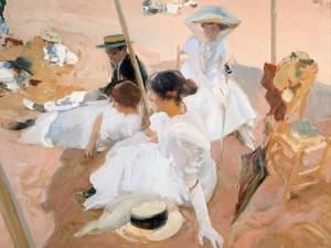 Under the Awning, on the Beach at Zarautz by Joaquín Sorolla y Bastida