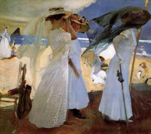 Under the Awning, Zarauz by Joaquín Sorolla y Bastida