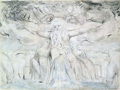 Job and His Daughters-William Blake-Giclee Print