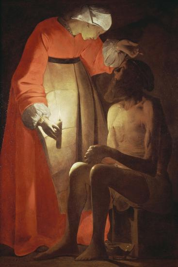 Job Mocked by His Wife-Georges de La Tour-Giclee Print