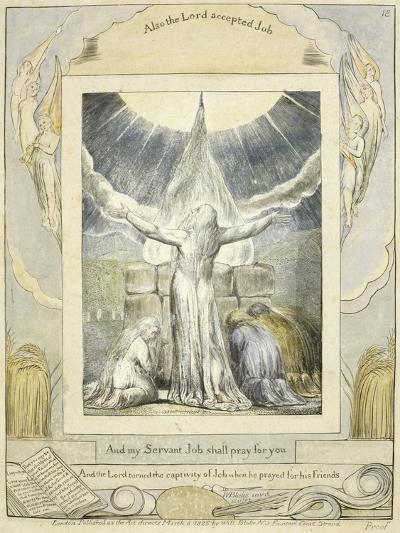 Job Praying (Pl.18) from the Book of Job, C.1793-William Blake-Giclee Print