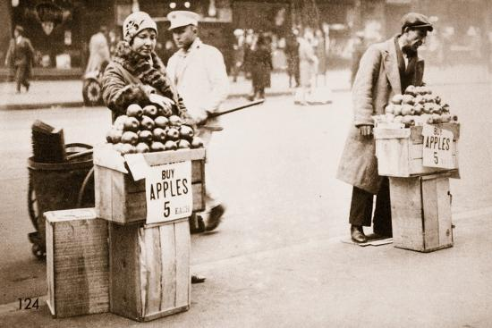 Jobless New Yorkers Selling Apples on the Pavement, 1930--Photographic Print