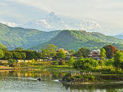 Annapurna Himal, Machapuchare and Phewa Tal Seen from Pokhara, Gandaki Zone, Western Region, Nepal