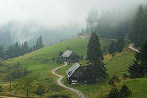 Farmhouses in Fog, Muchenland, Black Forest, Baden-Wurttemberg, Germany, Europe by Jochen Schlenker