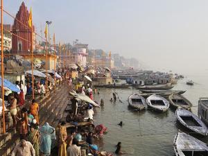 Ghats on the River Ganges, Varanasi (Benares), Uttar Pradesh, India, Asia by Jochen Schlenker
