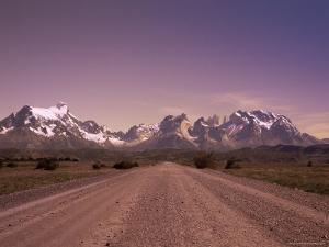 Gravel Road and Cuernos Del Paine, Torres Del Paine National Park, Patagonia, Chile, South America by Jochen Schlenker