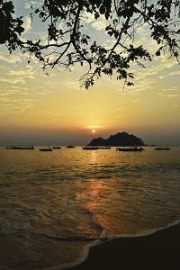 Sunset at Nipah Bay and Coral Island, Pulau Pangkor (Pangkor Island), Perak, Malaysia, Asia by Jochen Schlenker
