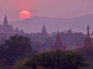 Sunset, Bagan (Pagan), Myanmar (Burma), Asia by Jochen Schlenker