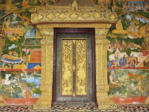 Wall Painting of the Life of Buddha, Ban Xieng Muan, Luang Prabang, Laos, Indochina, Southeast Asia by Jochen Schlenker