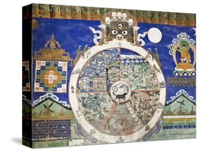 Wheel of Life Wall Art, Tikse Gompa, Tikse, Ladakh, Indian Himalaya, India
