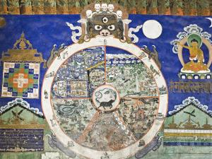 Wheel of Life Wall Art, Tikse Gompa, Tikse, Ladakh, Indian Himalaya, India by Jochen Schlenker