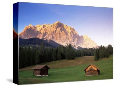 Zugspitze and Barns at Dusk, Wetterstein, Austrian Alps, Austria, Europe