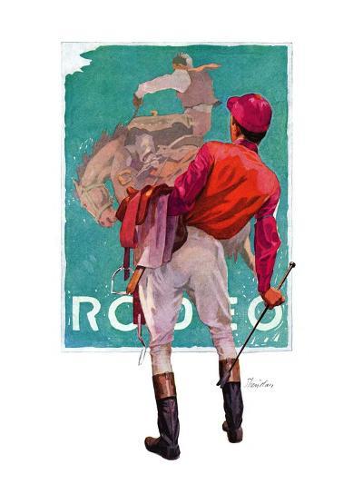"""Jockey Looks at Poster,""May 8, 1937-John E^ Sheridan-Giclee Print"
