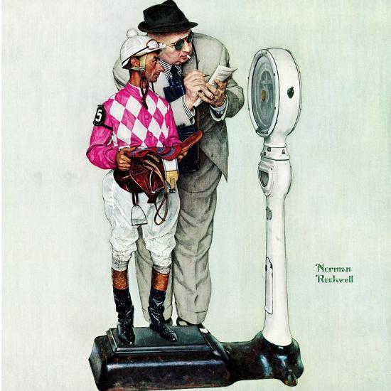 """Jockey Weighing In"", June 28,1958-Norman Rockwell-Giclee Print"