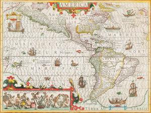 America, Circa 1588 by Jodocus Hondius