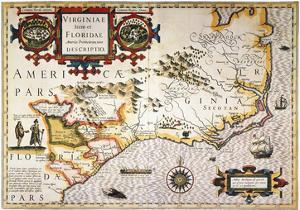 Map: Colonial America, by Jodocus Hondius