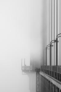 The Cables And Sidewak Of The Golden Gate Bridge Disappearing Into The Fog by Joe Azure