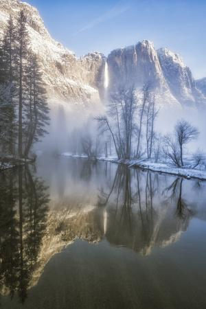 Yosemite Falls Reflected In The Merced River On A Foggy Winter Morning