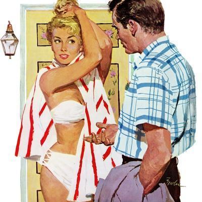 "The Girl Who Took Sunbaths - Saturday Evening Post ""Leading Ladies"", February 1, 1958 pg.30"