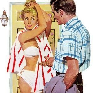 "The Girl Who Took Sunbaths - Saturday Evening Post ""Leading Ladies"", February 1, 1958 pg.30 by Joe Bowler"