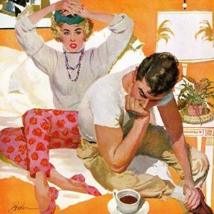 """Where Were You Last Night - Saturday Evening Post """"Leading Ladies"""", July 5, 1958 pg.15 by Joe Bowler"""