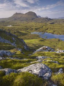 Bog Wetlands with Suilven Mountain at Dawn, Assynt Mountains, Highland, Scotland, UK, June by Joe Cornish