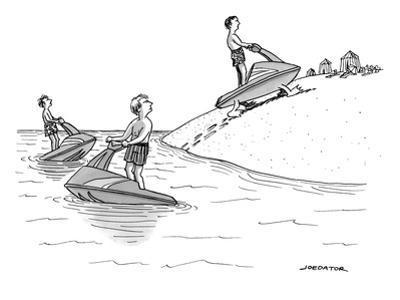 (A man on a jetski looks at another man on a jetski, whose jetski is walki? - New Yorker Cartoon by Joe Dator
