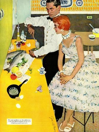 """Backstairs Bachelor  - Saturday Evening Post """"Leading Ladies"""", July 17, 1954 pg.27"""