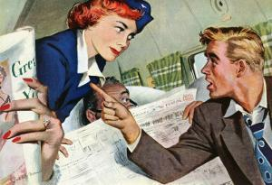 "The Passenger Hated Redheads  - Saturday Evening Post ""Leading Ladies"", August 13, 1949 pg.24 by Joe deMers"