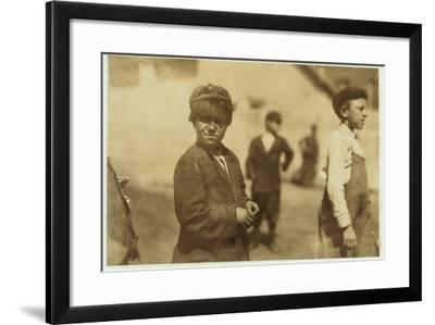 Joe (Jose) Mello, Aged 8 or 9 Works as a Mill Sweeper in New Bedford, Massachusetts, 1911-Lewis Wickes Hine-Framed Photographic Print