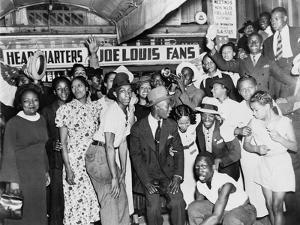 Joe Louis Fans Celebrate Louis' Victory over Tom Farr, Harlem, August 30, 1937