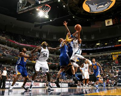 Golden State Warriors v Memphis Grizzlies: Mike Conely and Andris Biedrins