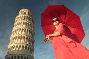 A Pregnant Woman with a Red Umbrella at the Leaning Tower of Pisa by Joe Petersburger