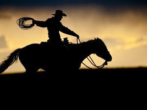 A Silhouetted Cowboy Riding Alone a Ridge at Sunset in Shell, Wyoming, USA by Joe Restuccia III