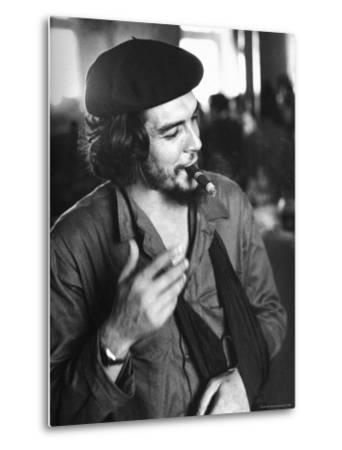"""Cuban Rebel Ernesto """"Che"""" Guevara, Left Arm in a Sling, Talking with Unseen Person"""
