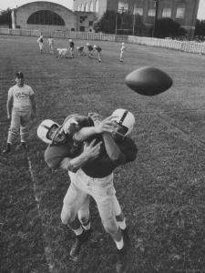 Players Don McClelland and Bobby Conrad During a Pre Season Practice of Texas A and M Football Team by Joe Scherschel