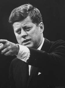 President John F. Kennedy During Press Conference by Joe Scherschel