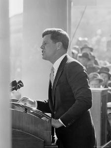 President John F. Kennedy Making Inaugural Address by Joe Scherschel
