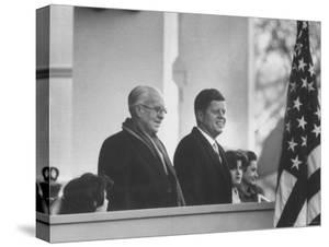 President John F. Kennedy Stands at His Inauguration Ceremonies with His Father Joseph P. Kennedy by Joe Scherschel