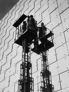 Technicians Adjusting Mirrors of Solar Furnace by Joe Scherschel