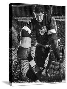 Terry Sawchuck, Star Goalie for the Detroit Red Wings, Warding Off Shot on Goal, at Ice Arena by Joe Scherschel
