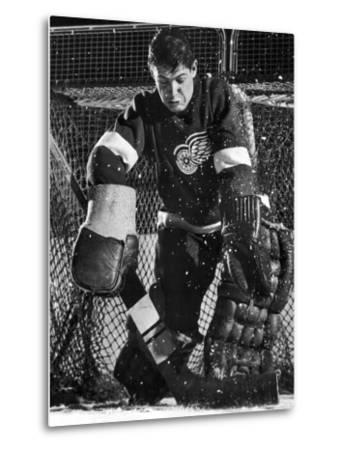 Terry Sawchuck, Star Goalie for the Detroit Red Wings, Warding Off Shot on Goal, at Ice Arena